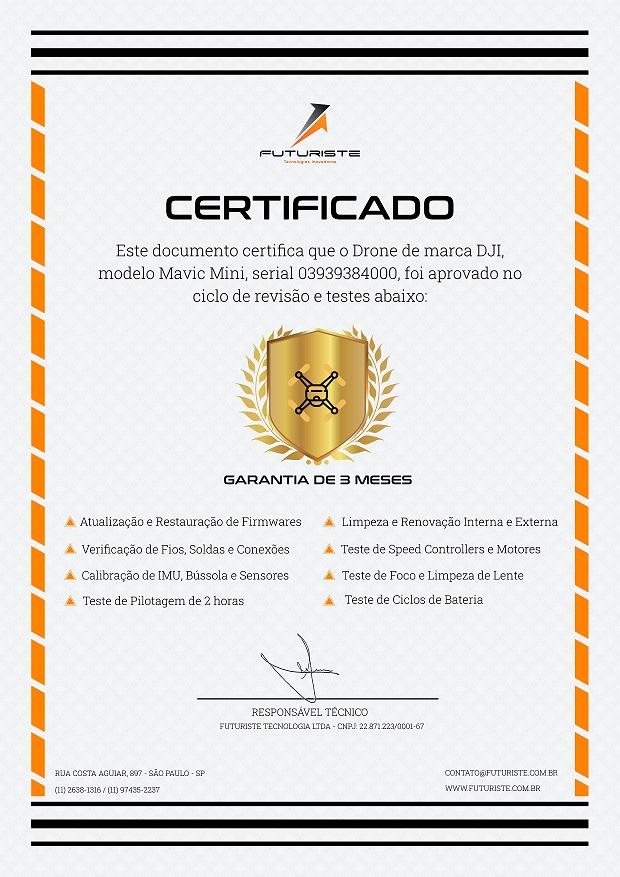 certificado de revisão de drone usado da Futuriste
